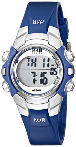 Women's 1440 Sports Digital Silver/Blue Rubber Band Watch