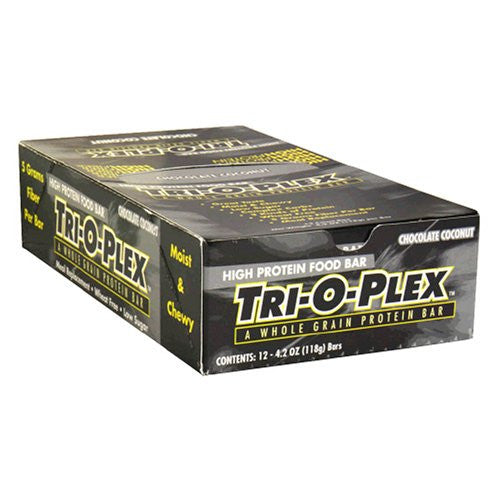 Chef Jay's Tri-O-Plex High Protein Food Bar Chocolate Coconut -- 12 Bars