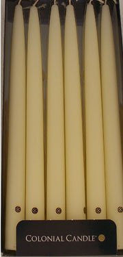 "Ivory Unscented 10"" Handipt Taper Candles, Box of 12"