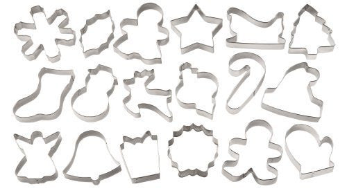 Metal Cookie Cutters 18/Pkg - Tree, Snowflake, Gingerbread Man