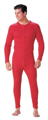 MENS 5.5 OZ. UNIONSUITS 1X1 RIB 100% COTTON RED - Medium