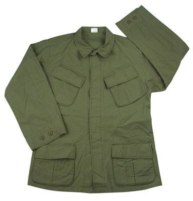 Olive Drab Vintage Vietnam Era 4-Pkt Fatigue Shirt - Small