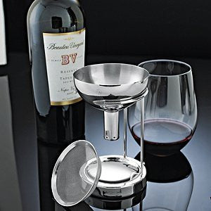 Wine Enthusiast Aerating Funnel with Removable Screen and Stand