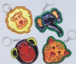 "Zoo Sun Catcher Key Chain Craft Kit, 3"" x 3"" (Pack of 12)"