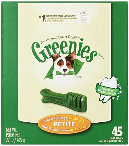 GREENIES Original Canine Dental Chews - Petite Size - Treat TUB-PAK Package (27 oz.) - 45 Count