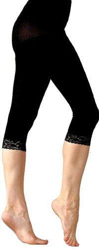 Microfiber Capri with Lace - Black