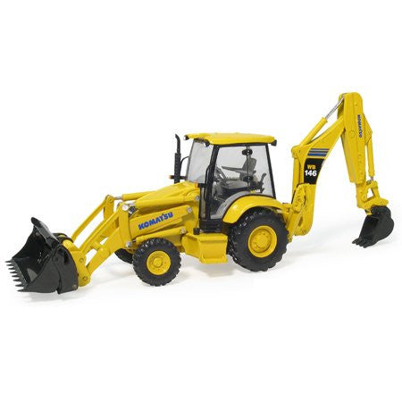 First Gear - Komatsu WB146 Backhoe Loader w/ Attachments (1/50 scale diecast model car, Yellow)