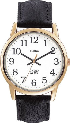 Men's Easy Reader Gold Tone Case Black Leather Band Watch