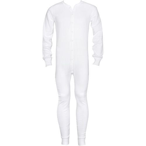 MENS 5.5 OZ. UNIONSUITS 1X1 RIB 100% COTTON WHITE - Large