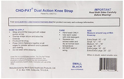 Cho-Pat Dual Action Knee Strap, Black, Small, 12 Inch-14 Inch