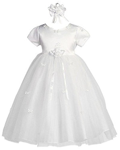 Baby-Girls Butterfly Tulle Dress & Headband - White, Small