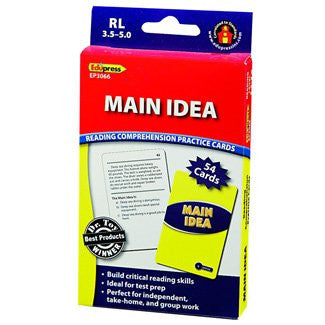 Main Idea Reading Comprehension Practice Cards, Blue Level