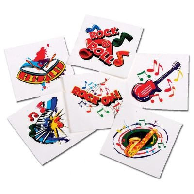 MUSICAL INSTRUMENT TATTOOS - 144pcs