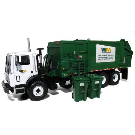 First Gear Waste Management - Mack TerraPro Side Load Refuse Truck with Carts (1/34 scale diecast model car, White)