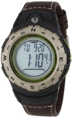 Men's Expedition Digital Compass Brown Leather Band Watch