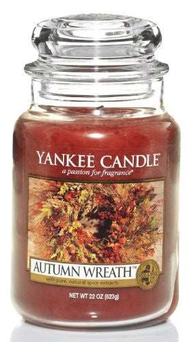 Yankee Candle Large 22-Ounce Jar Candle, Autumn Wreath