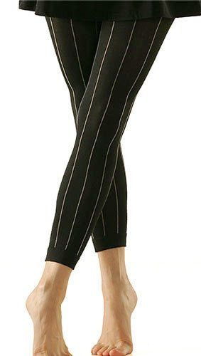 Solid Footless Tights - Pinstripe