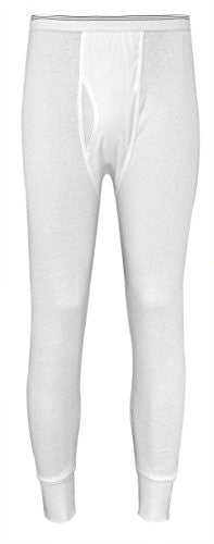 Indera Men's Cotton Tall 1 x 1 Rib Pant (White / Medium)