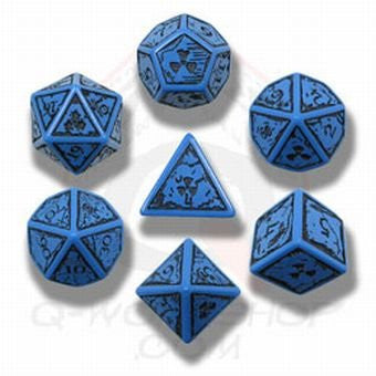 Blue & Black Elvish Dice (set of 7)