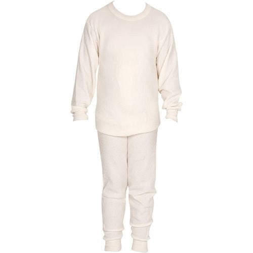 Indera Boys Thermal Shirt and Pant Set in Natural (Natural / X-Large)