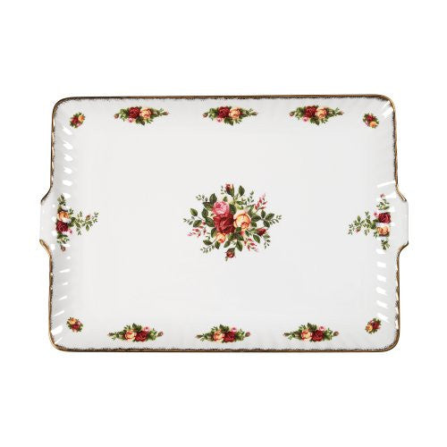 OLD COUNTRY ROSES FLUTED SERVING TRAY 12.5""