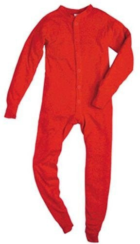 YOUTH 5.5 OZ. UNIONSUITS 1X1 RIB 100% COTTON RED - Small