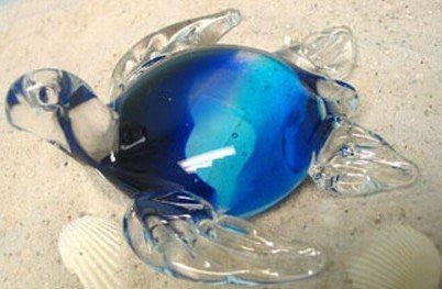 Glass Blue/Clear Sea Turtle Paperweight