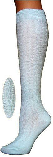 Knee High Socks - Textured Cable Knit - White