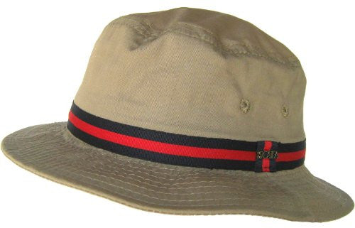 "Scala Pro Bucket - Water Repellent Poplin, Grosgrain, 2"" Brim - British Tan, XL"