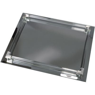 "Mirrored Vanity Tray Rectangular with Glass Gallery Rods 12-1/4""x 9"""