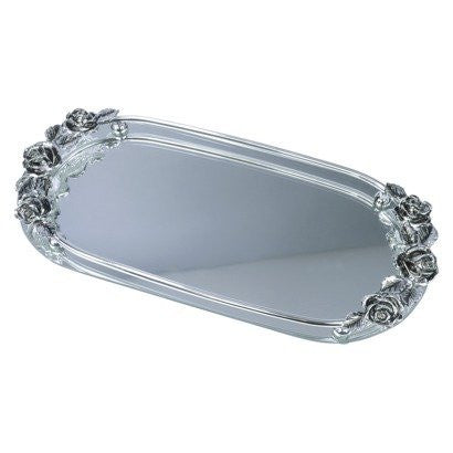 Mirrored Vanity Tray with Rose Motif