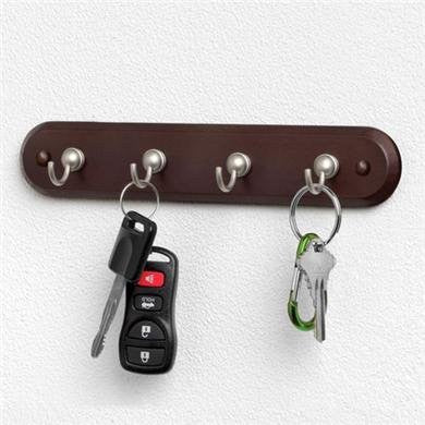 Four Hook Key Rack Walnut w/Satin Nickel Hooks, 1/Hang Tab