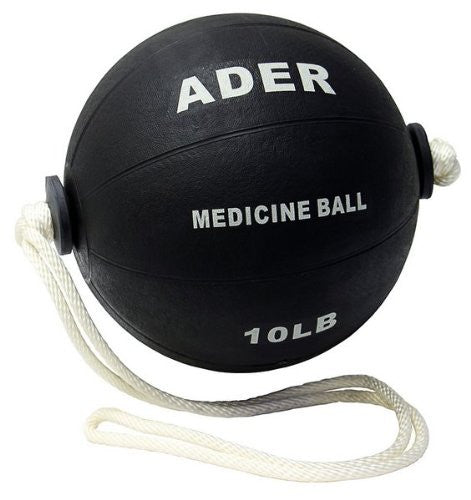10lb Black Medicine Ball w/Rope