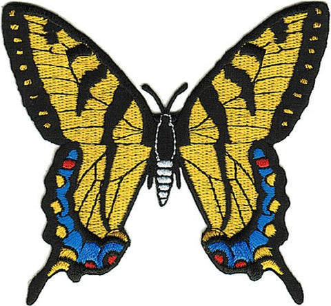 """Beautiful Yellow and Blue Swallowtail Monarch Butterfly - Iron On and Sew On Patch"