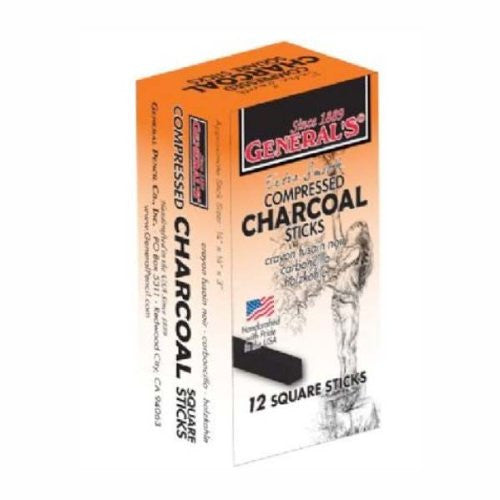 "Square Compressed Charcoal, 2-3/4""L x 1/4"" Sq. (Box of 12)"