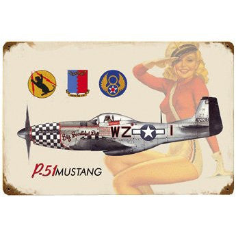 P-51 Salute vintage metal sign measures 18 inches by 12 inches