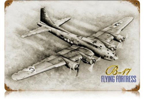 B-17 Flying Fortress vintage metal sign measures 18 inches by 12 inches