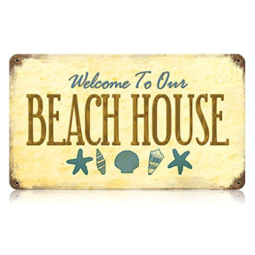 Beach House vintage metal sign measures 14 inches by 8 inches