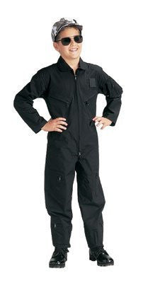 Kids Black Air Force Type Flightsuit - Extra Large