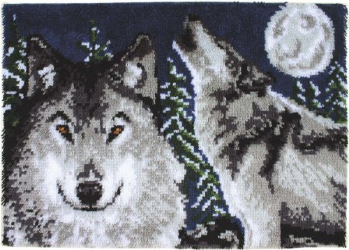 "Wonderart Latch Hook Kit 27""X40"", Midnight Wolves"