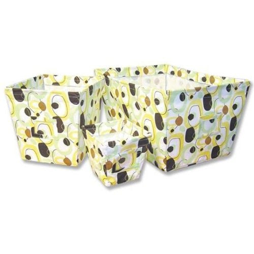 3 Piece Fabric Storage Bins Yellow and Brown, Giggles