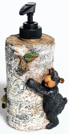 "Willie Bear Birch Soap Dispenser 7""x4""x4"""