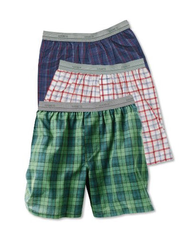 Hanes Boys Exposed Waistband Woven Tartan Boxer # B830BT (Assorted Plaids / Large)