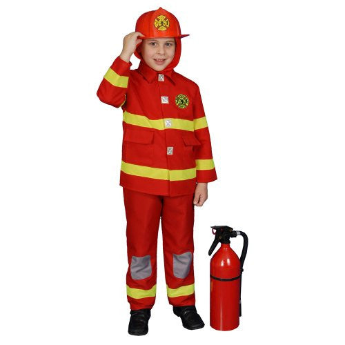 Fire Fighter (red) Child Fireman Costume Size Medium (8-10)