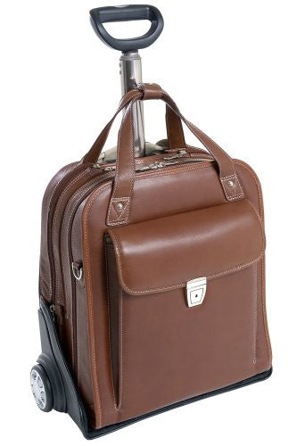Siamod PASTENELLO 45314 Cognac Leather Vertical Detachable-Wheeled Laptop Case