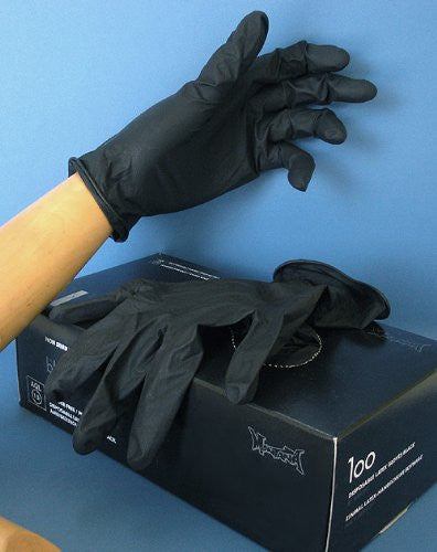 LATEX GLOVES BLK M BX/100