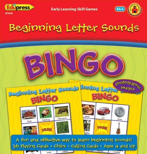 Beginning Letter Sounds Early Learning Bingo