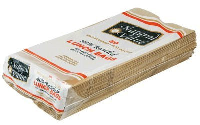 Natural Value 100% Recycled Paper Products, 10% Post Consumer Paper Lunch Bags (50 ct.)