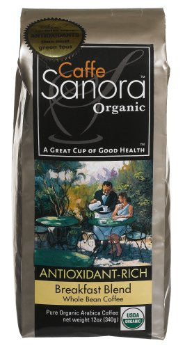 CAFFE SANORA Whole Bean Coffee Breakfast Blend At least 95% Organic 6/12 OZ