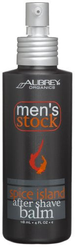 Aubrey Organics Men's Stock Spice Island After Shave Balm, 4-Ounce Bottles (Pack of 2)